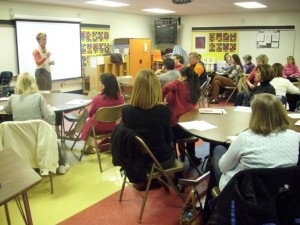Laura leading a workshop for Troy Michigan School District parents  and staff.
